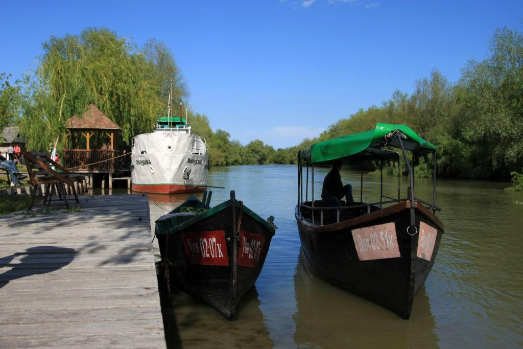 """Теплоход Лебединка и лодки """"Вилково-тур"""" на островной стоянке на острове на Дунае"""